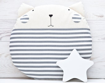Striped Gray Cat Cushion Round Pillow Cat Decorative Pillow Gray Nursery Decor Nautical Nursery Decor Nautical Cat Pillow Baby Shower Gift