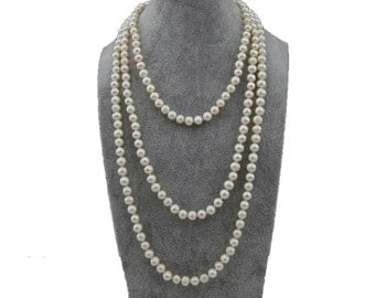 "Pearl Necklace, 60"" White Cultured Freshwater Pearl Endless Strand Necklace"