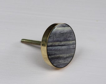 Grey and Brass Bone Cabinet Knob