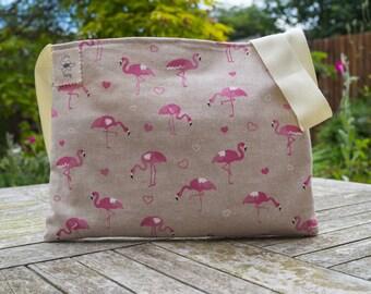Pink flamingo bag - cross body messenger - gift for mum - gift for girls – everyday bag – small messenger bag - Christmas gift ideas
