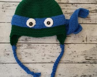 Teenage Mutant Ninja Turtle Crochet Hat, TMNT hat, baby hat, child hat, Crochet TMNT hat, baby crochet hat, Halloween costume hat, costume