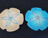 "Custom Order for Jenn. This is a set of two 12"" Lazy Susan Sand dollars for  long table, beach house kitchen art, order custom colors!"