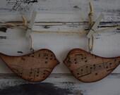 "Handmade Rustic Vintage Look Holiday Wood ""Song"" Bird Ornaments Set of 5"