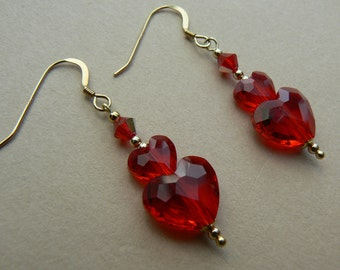 Valentine OOAK 14ct yellow gold filled Siam Red Swarovski crystal heart earrings