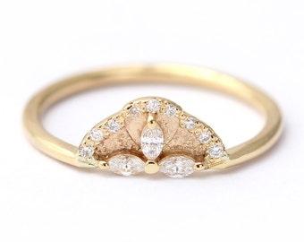 Diamond Ring, Marquise Diamond Engagement Ring, Cluster Engagement Ring, Marquise Cut Ring, Pave Diamond Engagement Ring