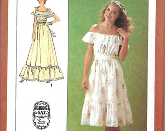 Jessica McClintock Gunne Sax Off The Shoulder Dress Pattern, Two Lengths, Simplicity 9015, Size 6-8 & 10, UNCUT