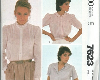 McCall's 7623 Cacharel Sewing Pattern, Misses Blouses, Sizes 8 UNCUT
