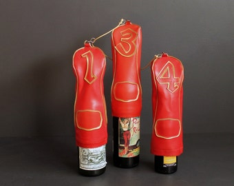 Vintage Golf Club Head Covers Red and Gold Vinyl Mid Century Upcycle Man Cave Liquor Bottle Covers