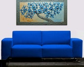 Oil painting Surreal Acrylic painting contemporary blue Cherry Blossom Palette KnifeTexture