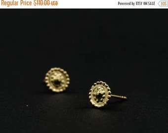 FLASH SALE 20% Stud earrings - 14kt gold earrings - gold ear studs - Saule - gold jewelry - solid gold - special jewelry - bridal earrings -