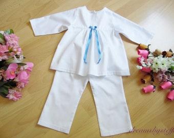 Christening suit satin bow, different colors /various sizes/colors,100% cotton