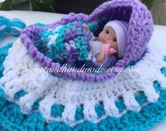 crochet cradle purse with blanket, pillow and bottle church purse girls purse bassinet purse also called church purse READY TO SHIP