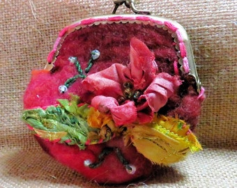 Floral Felted Coin purse