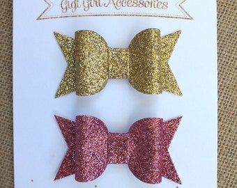 Chunky Glitter Hair Bows, Set of 2, Gold Hair Bow, PInk Hair Bow,  Gold Glitter Bows, Glitter Hairbows