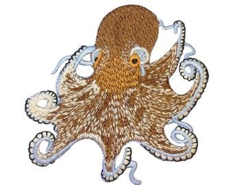 Brown Octopus Patch Exotic Marine Aquarium Ocean Animal Craft Iron-On Applique