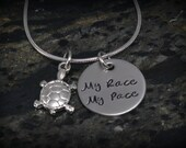 My Race My Pace Personalized Runner Necklace - Inspirational Jewelry - Running Jewelry