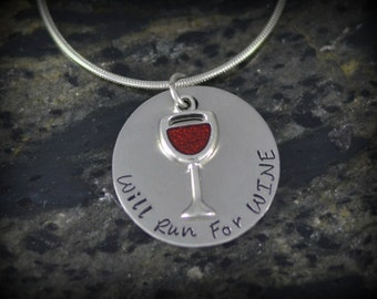 Will Run for Wine Personalized Runner Necklace - Inspirational Jewelry - Running Jewelry