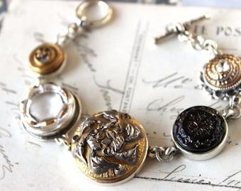 Antique Button Bracelet Victorian Jewelry Historic Button Jewelry, Charm Bracelet, Upcycled Antique Button Jewelry veryDonna Sutor