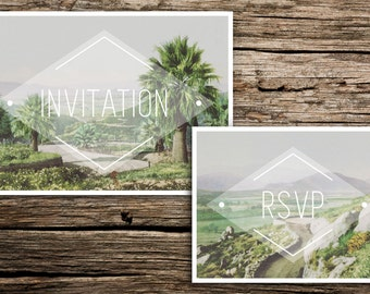 Palm Springs Wedding Invitation Suite // Modern Minimalist Monogram Wedding Invitations Palm Springs Coachella Riverside Desert Unique Cards
