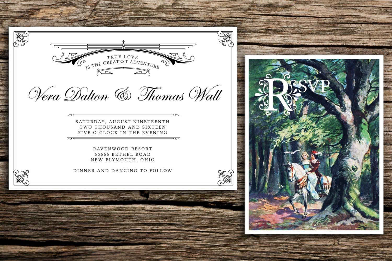 Princess Bride Wedding Invitation and RSVP // Storybook