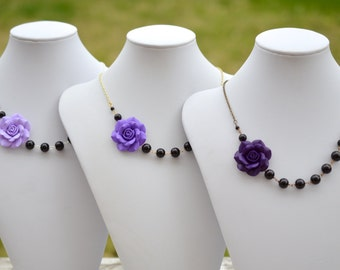 FREE EARRINGS Purple Rose Asymmetrical Necklace and Back Glass Beads. Purple and Black Bridesmaid Necklace