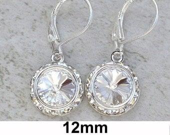 Crystal Dangles, 925 Sterling, Crystal Color Studs,  Swarovski, Crystal Earrings, Sterling Silver,  Leverback Earrings, 12mm Dangles