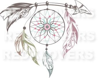 SVG DXF silhouette  feather arrows  dreamcatcher southwest ethnic scrapbook Digital Download files svg , ai, psd, png,  pdf tshirt designs