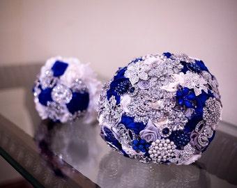 12 inch Satin Flower Brooch Bouquet DEPSOIT Navy blue and Gold