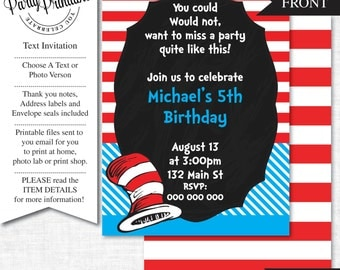 Cat in the Hat Party Invitation | Cat in the Hat  Party Invitation Printable |Cat in the Hat Party Printables