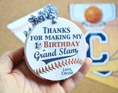 Baseball Birthday Party Favor Gift Tag, Baseball Thank You Tags, Personalized Gift Tags, Sports Party, Fast Service, Handmade, 1st Birthday