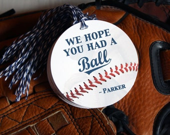 BASEBALL GIFT TAGS - Any Age - party favors - Had A Ball - 2.5 or 3 inch circle - Blue or Red Twine - Custom Requests Welcome - Custom Text