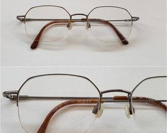 SILHOUETTE Titanium Metal Eyeglass Frames • Vintage Rectangular Half Rimless Lightweight Thin Wire Sunglass Frames • Made in Austria