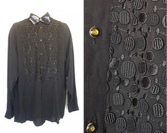 Bellows Brut Le Garage Shirt • Vintage 80's Black Embroidered Tuxedo Shirt • Size M L • Made in Paris France