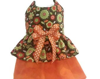 Fall Dog Dress Custom Harness Dress Dog Clothes Floral Modern Flowers