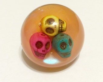Skull Ring - Skull Jewelry - Skull - Sugar Skulls - Halloween Ring - Halloween Jewelry - Ring - 3 Skulls - Ring