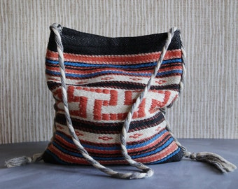 Vintage black white red blue ikat style woven striped market shopping beach tote bag