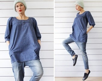 Vintage blue denim pocketed babydoll tunic mini dress XS
