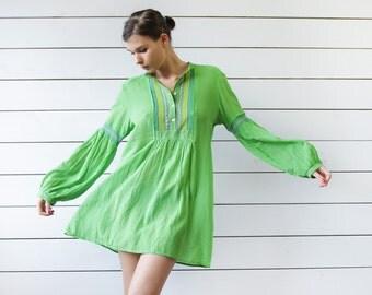 Vintage bright green thin cotton boho loose balloon bishop sleeve shirt tunic dress