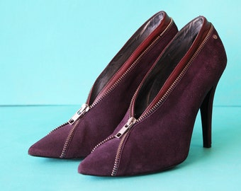 CAVALLI vintage purple suede leather high stiletto heel pointy toe zip around ankle boots shoes Size 39 8.5