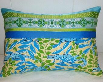Lilly Pulitzer inspired designer pillow - Croc Monsieur  grossgrain  ribbons lumbar pillow OOAK accent pillow green blue