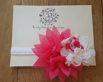Pink and White Flower Baby Headband