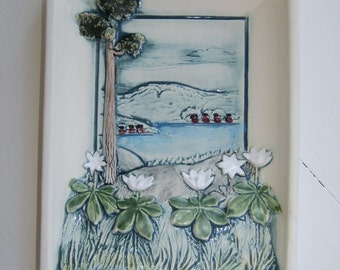 Vintage Swedish ceramic wall plaque - West coast motif with white flowers - Jie Gantofta - Aimo design