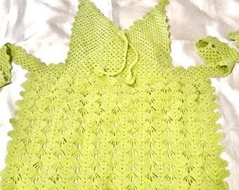 Crochet apron , teens handmade apron , traditional crochet apron