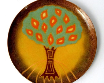 1970s Miquel PINEDA Los Castillo Signed Porcelain Enamel COPPER Footed PLATE 8in Unique Mid Century Abstract Tree Design Mexico Ex Cond