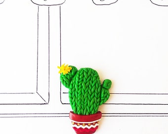 Cactus Brooch, Flower Cactus, Green Brooch, Nature Botanical Jewelry