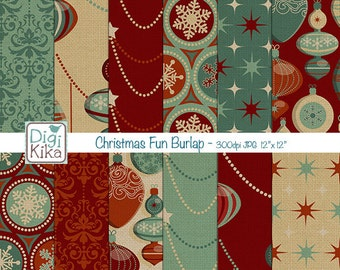 SALE Christmas Ornaments Burlap Digital Papers - Christmas Pattern - Christmas Digital Papers - Burlap Christmas - Instant Download