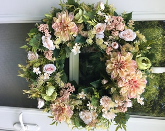 Blush Pink & Green Zinnia with Roses Wreath