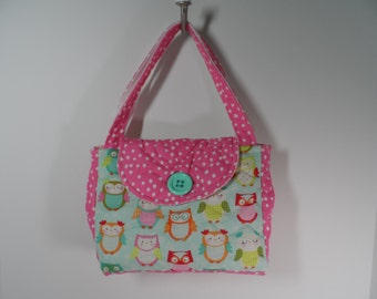 kids quilted owl purse in pale aqua and pink, little girls own purse