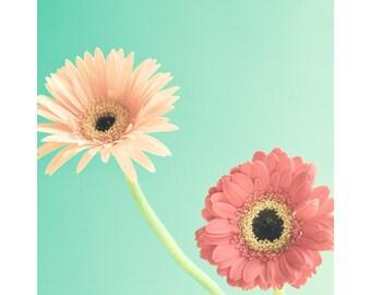 Spring decor, flower photography, mint wall art, mint decor, canvas art, canvas wall art, large art, large wall art, girl nursery decor