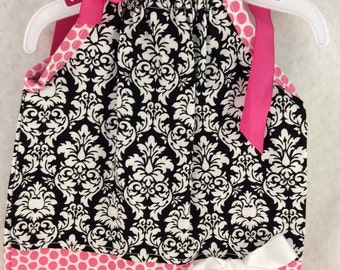 Black damask pillowcase dress - 0/3 mo size- Michael Miller fabric
